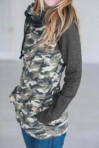 Sheinlove Camouflage Long Sleeved Casual Hoodies