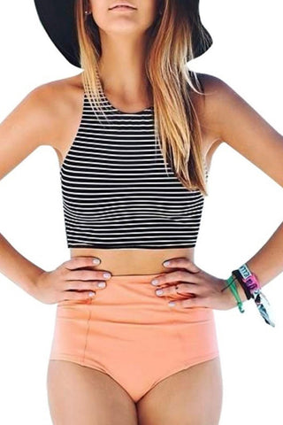 Sheinlove Stripe Print High Waist Two Piece Swimwear