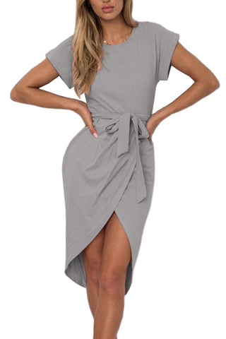 Sheinlove Asymmetric Hem Short Sleeve Belted Dress