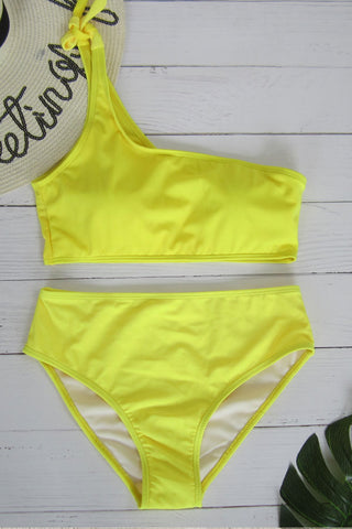 Sheinlove One Shoulder Yellow Two Piece Swimwear