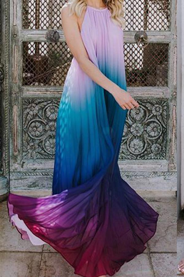 Sheinlove Halter Neck Maxi Chiffon Dress