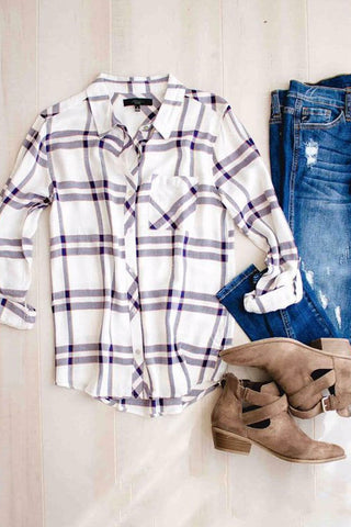 Sheinlove Plaid Print Long Sleeve Shirt
