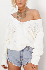 Sheinlove Hollow-out Long Sleeves White Sweaters