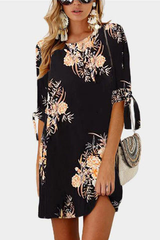 Sheinlove Flower Print Half Sleeve Tunic Dress
