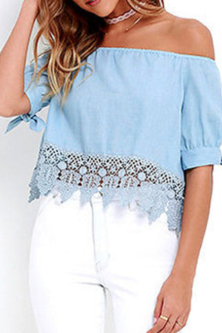 Sheinlove Off the Shoulder Lace Trim Blouse