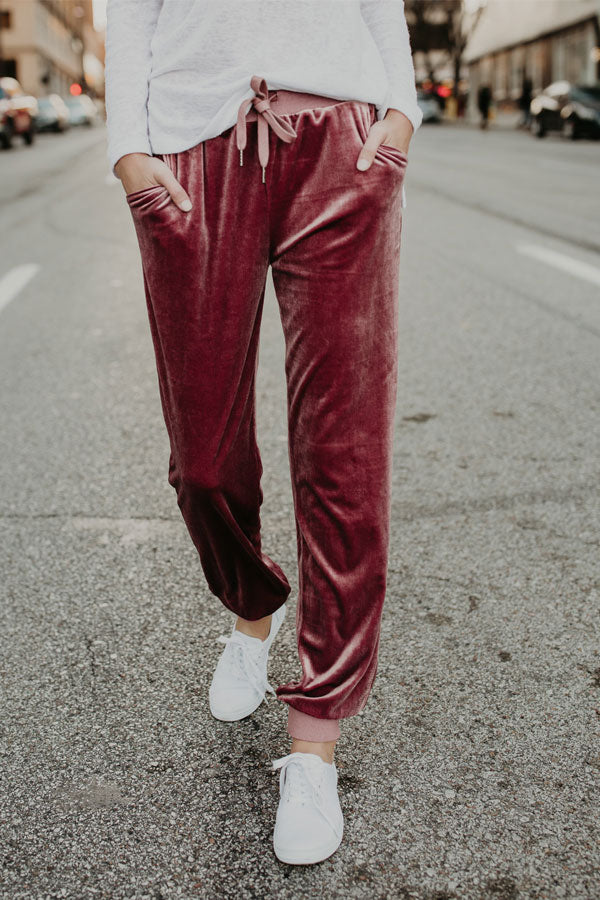 Sheinlove Drawstring Waist Pocket Velvet Pants