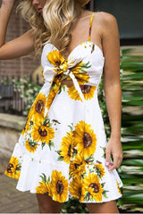 Sheinlove Sunflower Print Front Tie Cami Dress
