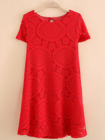 Sheinlove Short Sleeved Casual Lace Dress
