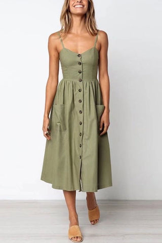 Sheinlove Button Up High Waist Cami Dress