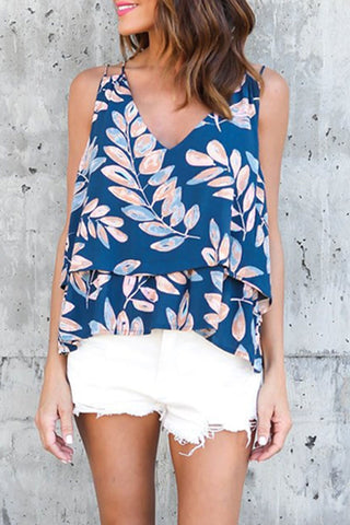 Sheinlove Leaf Print Layered Cami Top