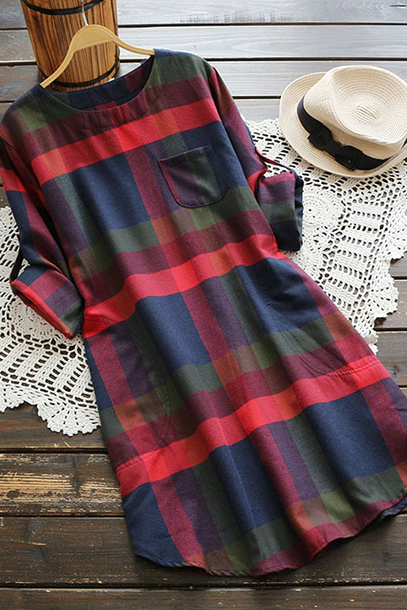 Sheinlove Long Sleeve Plaid Shirt Dress
