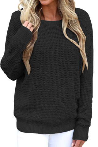 Sheinlove Cross Back Crochet Loose Fit Sweater Pullovers