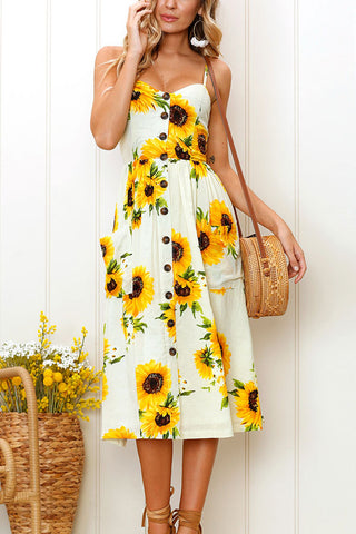 Sheinlove Sunflower Print Button Up Cami Dress