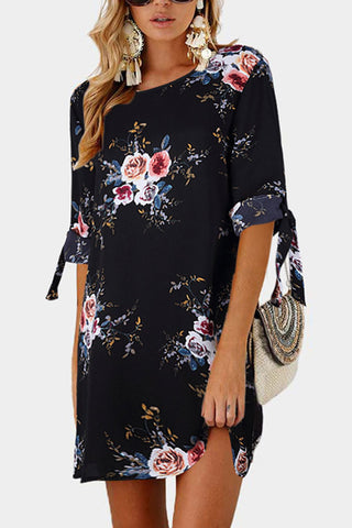 Sheinlove Tie Sleeve Flower Print Tunic Dress