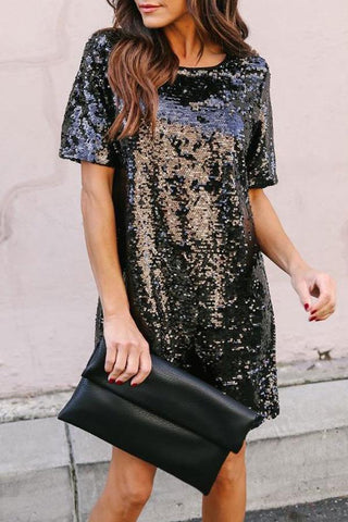 Sheinlove Sequin Embellished Short Sleeve Tunic Dress