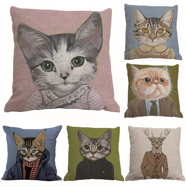 Vintage Cute Cat Cotton Pillow Cover FREE