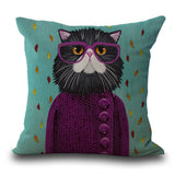 Cats Cotton Linen Pillow Case