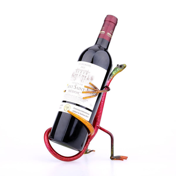 Funny Handmade Metal Sculpture Gecko Wine Rack
