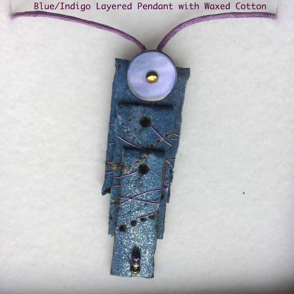 Blue/Indigo Layered Textile Pendant
