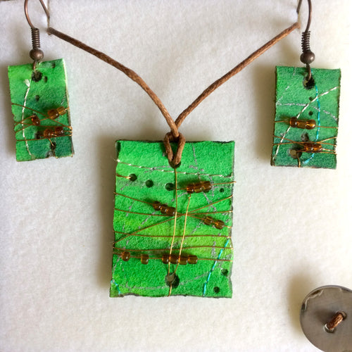 Green & Copper Pendant & Earring Set