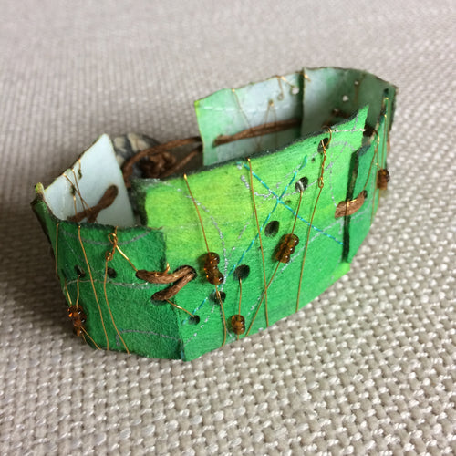 Green & Copper 8 inch cuff bracelet