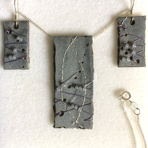 Grey/Silver flat pendant & earring set with 925 stamped silver chain & earrings