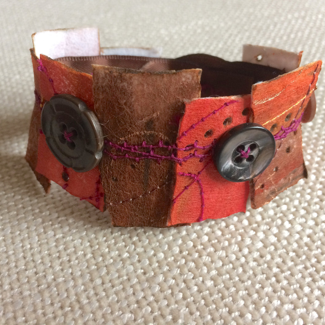 Orange & Brown 7.5 inch cuff bracelet