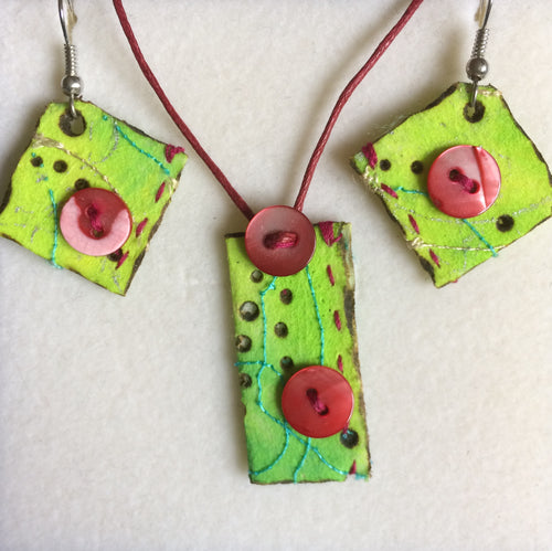 Lime Green & Pink Flat Pedant & Earring Set
