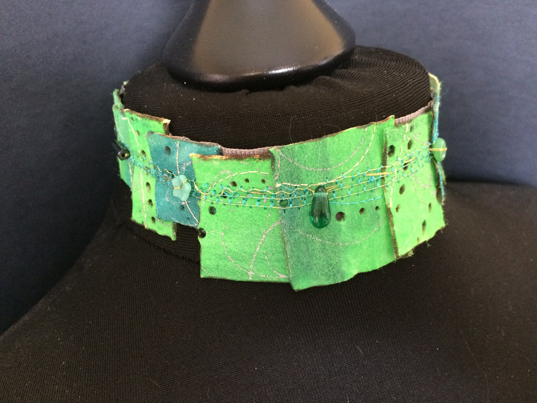 Green & Turquoise Choker embellished with beads