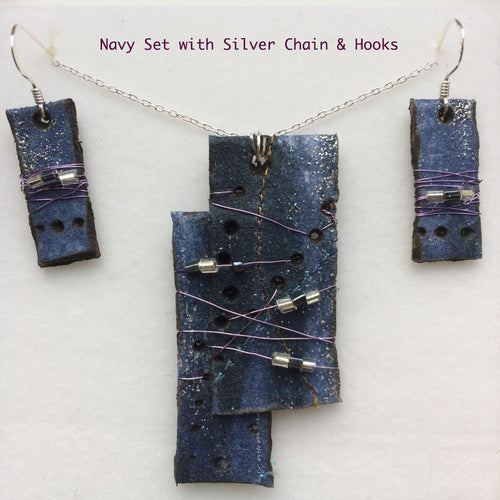 Navy Pendant & Earring Set with 925 stamped silver chain and earrings.