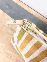 OCHRE GRID MAKEUP ZIPPER BAG