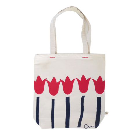 RED + NAVY TULIPS CARRY ALL BAG