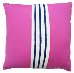 HOT PINK LINEN NAVY 3 LINES BAND PILLOW COVER