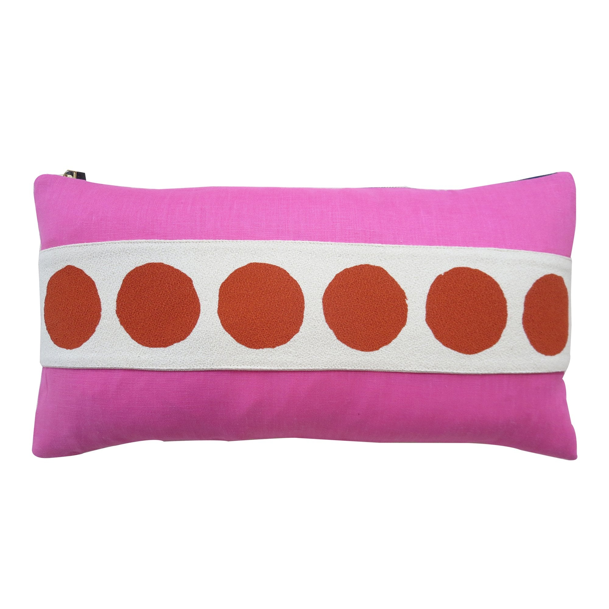 CIRCLE BAND LINEN PILLOW COVER IN RED