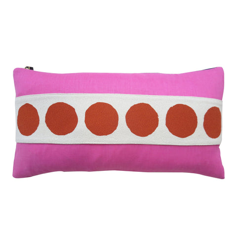 RED CIRCLE BAND LINEN PILLOW