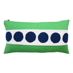 CIRCLE BAND LINEN PILLOW COVER IN NAVY