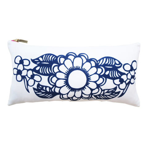 NAVY DAHLIA LUMBAR PILLOW