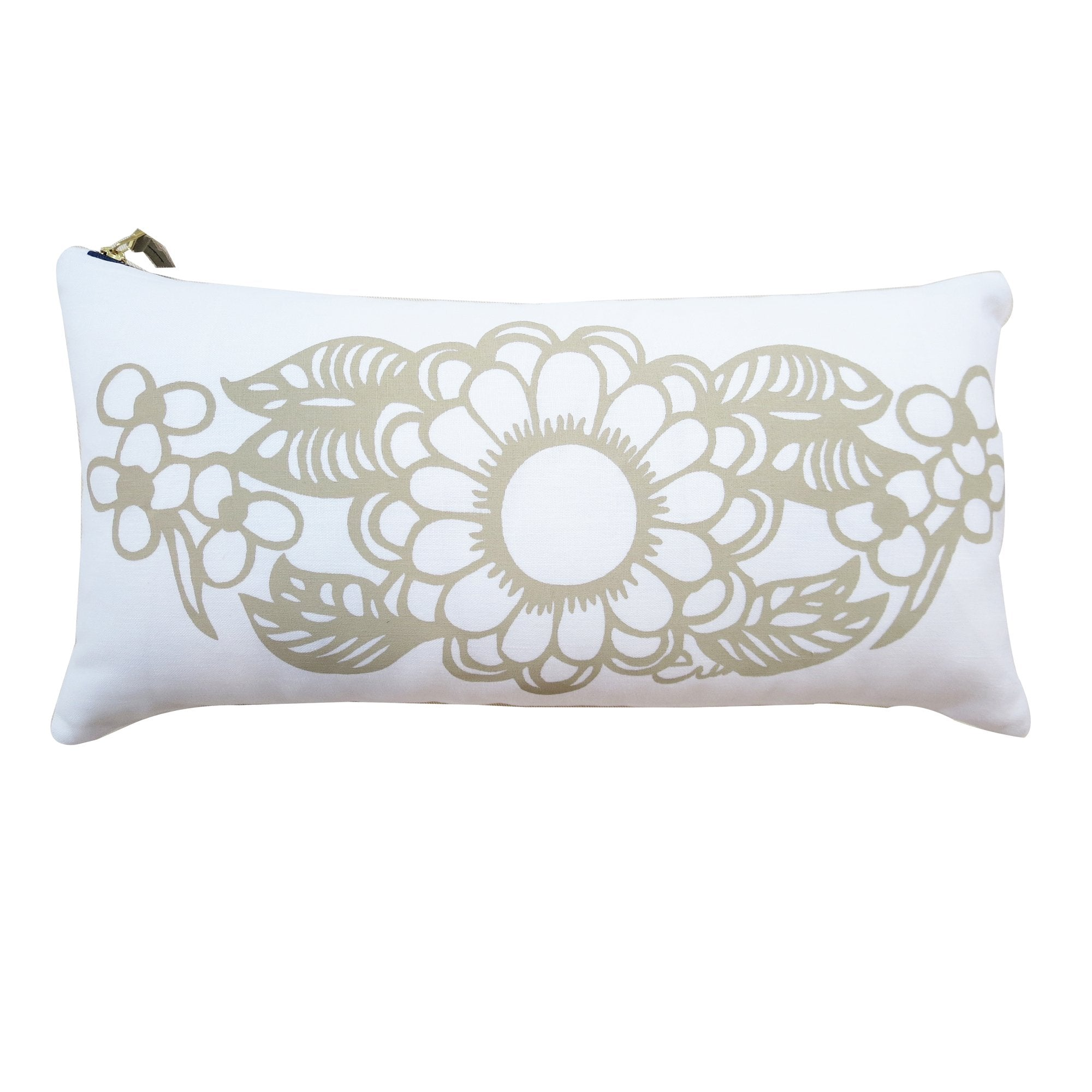 DAHLIA OATMEAL LUMBAR PILLOW COVER