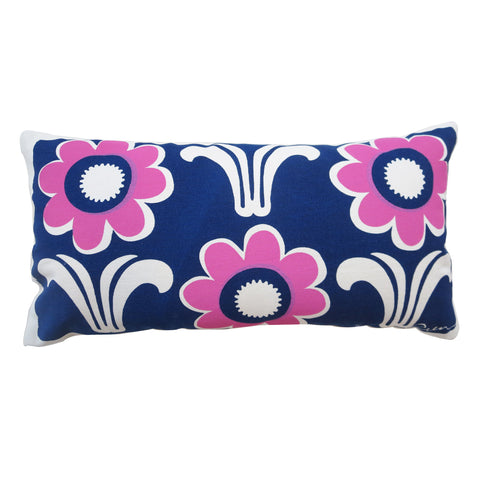 NAVY AND HOT PINK DECO DAISY PILLOW