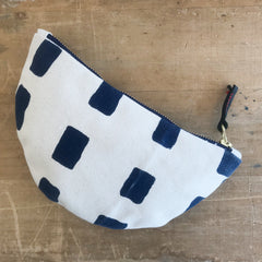 NAVY SQUARES HALF MOON BAG