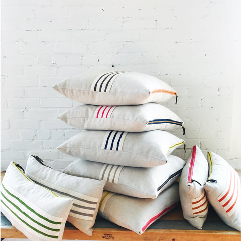 3 LINE OATMEAL BAND LINEN PILLOW COVER