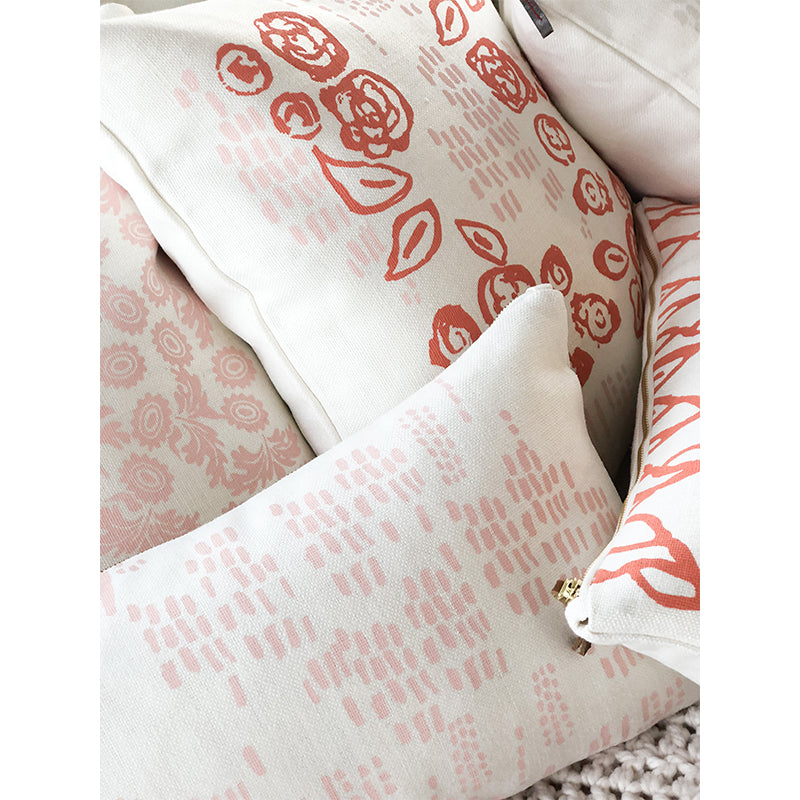 CORAL AND BLUSH VIVIAN PILLOW COVER