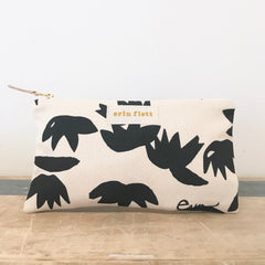 WORN BLACK LOTUS CLUTCH ZIPPER BAG