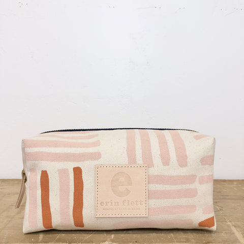 DUSTY PINK GRID DOPP KIT