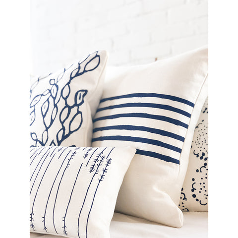 NAVY 6 LINE PILLOW COVER