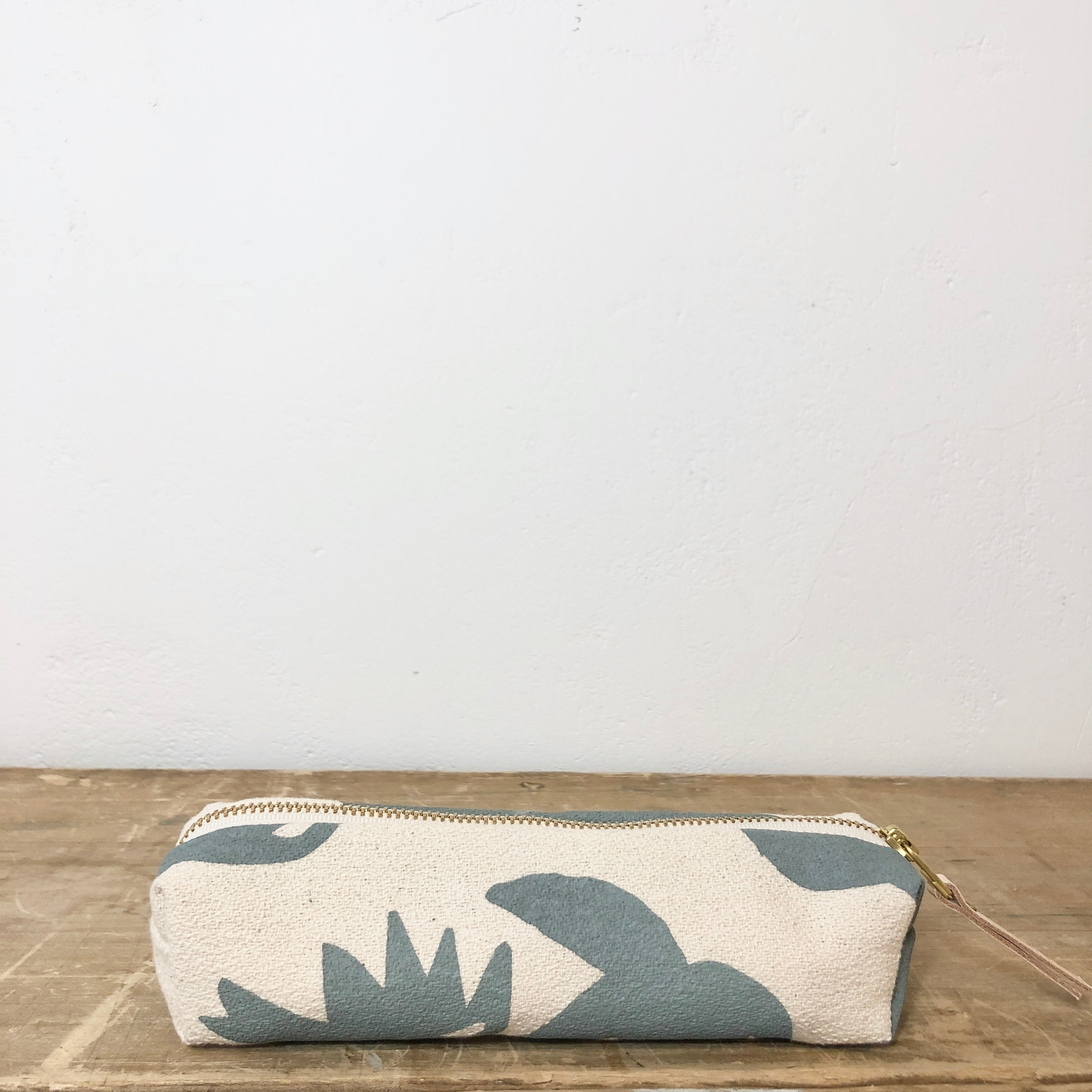 SLATE LOTUS PENCIL ZIPPER BAG