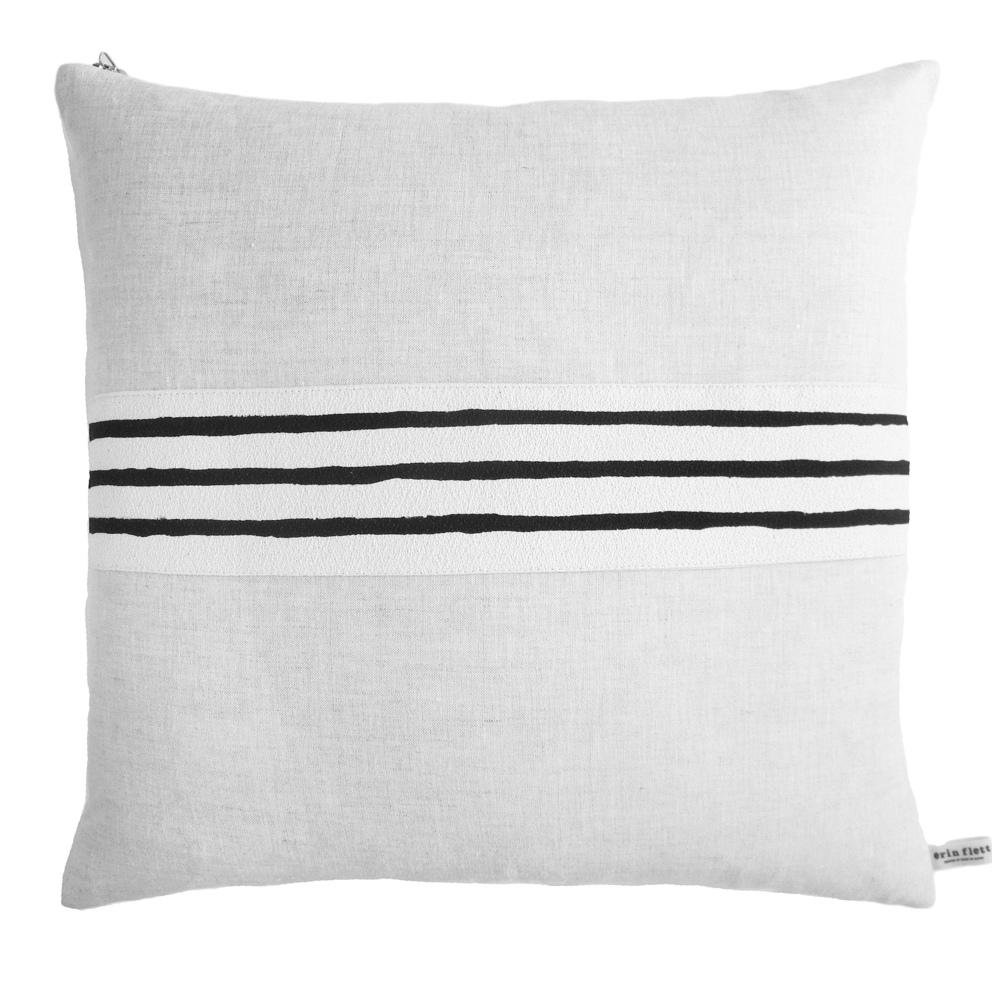 BLACK 3 LINE BAND LINEN PILLOW