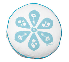 SEA BLUE BLOSSOM ROUND PILLOW