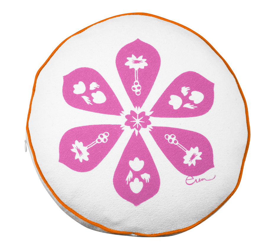 HOT PINK BLOSSOM ROUND PILLOW