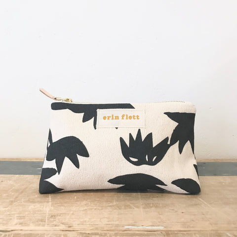 WORN BLACK LOTUS MAKEUP ZIPPER BAG